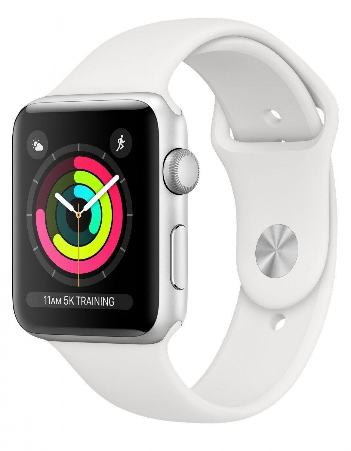 Apple Watch Series 3 GPS 38mm Silver Aluminum w. White Sport band (MTEY2)