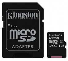 Карта памяти Kingston 128GB microSDXC Class 10 UHS-I Canvas Select + SD Adapter SDCS/128GB