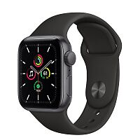 Apple Watch SE GPS 44mm Space Gray Aluminum Case w. Black Sport B. (MYDT2)