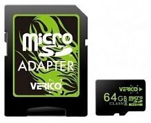 Карта памяти VERICO 64 GB microSDHC Class 10 + SD adapter