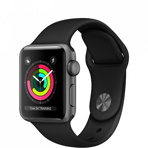 Apple Watch Series 3 GPS 42mm Space Gray with Black Sport Band (MTF32)