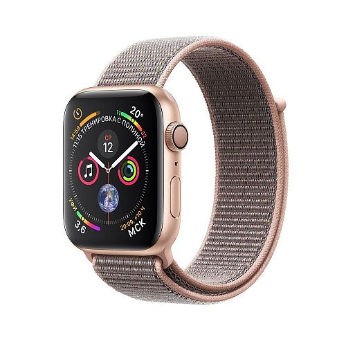 Apple Watch Series 4 (GPS + Cellular) 44mm Gold Aluminum Case with Pink Sand Sport Loop (MTVX2)
