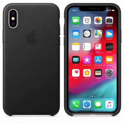 Чехол Leather Case для Apple iPhone XS (MRWM2) Black