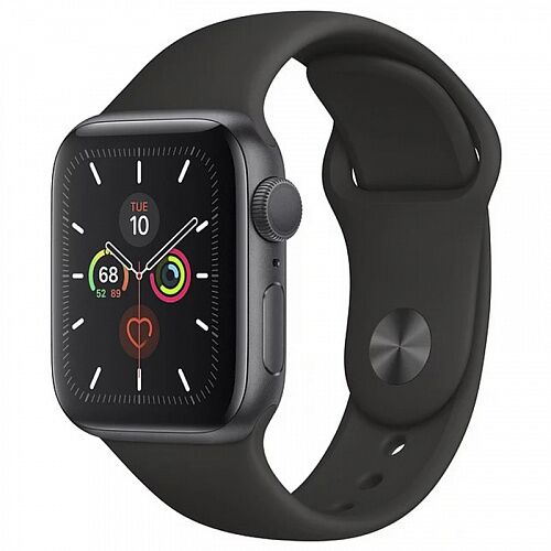 Apple Watch Series 5 (GPS) 40mm Space Gray Aluminum Case with Black Sport Band (MWV82)