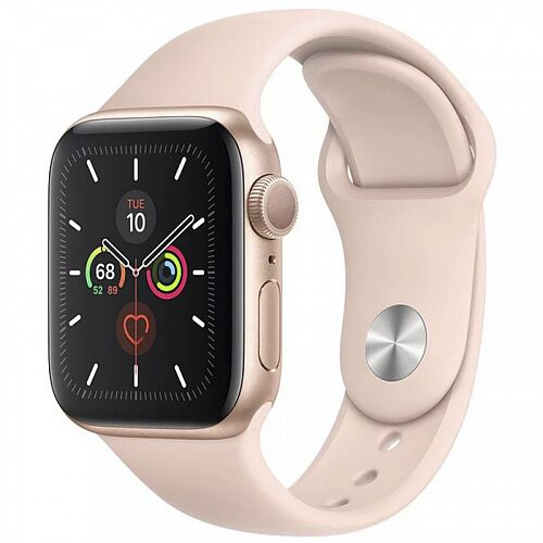 Apple Watch Series 5 (GPS) 44mm Gold Aluminum Case with Pink Sand Sport Band (MWVE2)