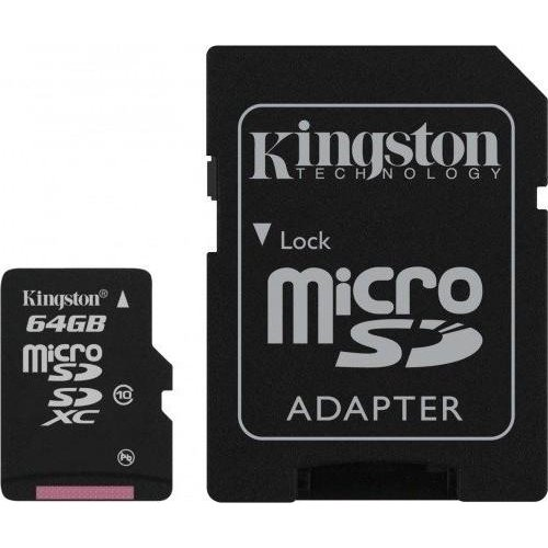 Купить Карты памяти, Карта памяти Kingston 64 GB microSDXC Class 10 UHS-I Canvas Select + SD Adapter SDCS/64GB