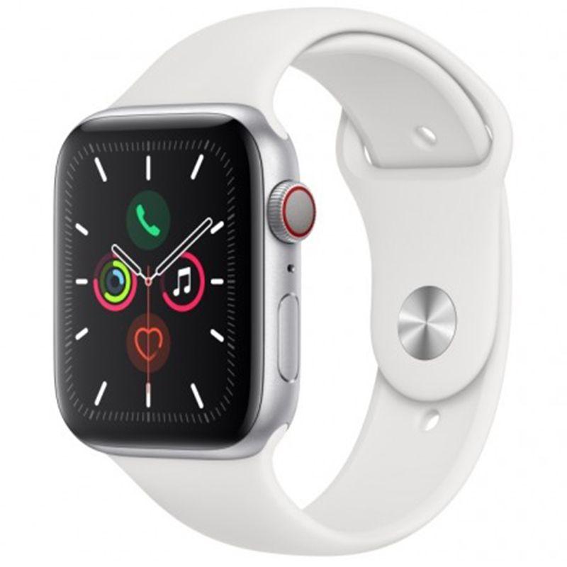 Купить Смарт-часы и фитнес-браслеты, Apple Watch Series5 (GPS) 44mm Silver Aluminum Case with White Sport Band (MWVD2)