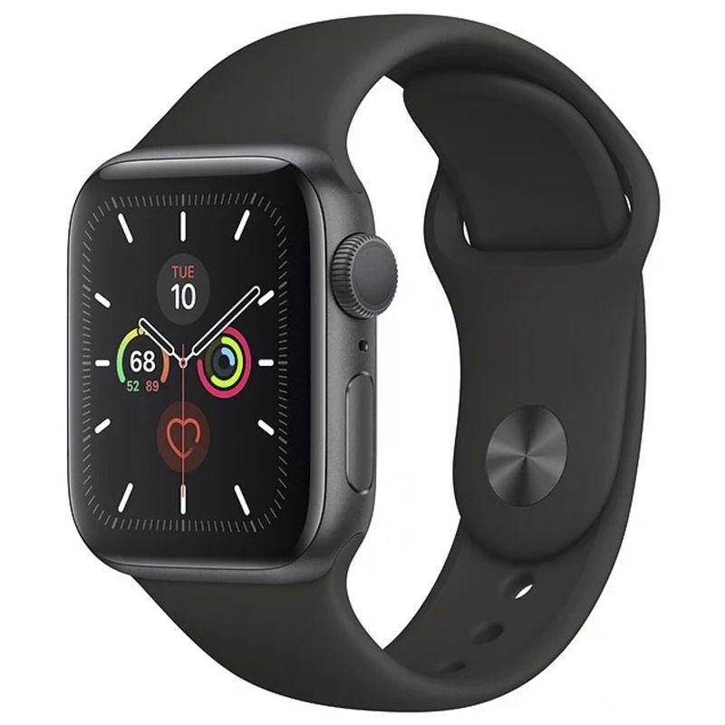 Купить Смарт-часы и фитнес-браслеты, Apple Watch Series 5 (GPS) 40mm Space Gray Aluminum Case with Black Sport Band (MWV82)