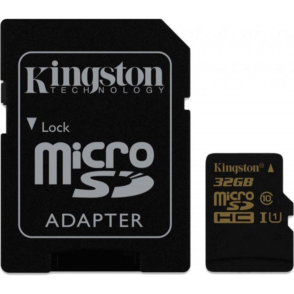 Купить Карты памяти, Карта памяти Kingston 32 GB microSDHC class 10 UHS-I + SD Adapter SDCA10/32GB