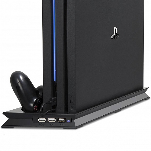 Вертикальная подставка для PS4 Pro Vertical Charging Stand with Dual Cooling Fan and 3 USB HUB Port with Dual Controllers Charger