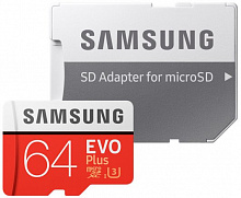 Карта памяти Samsung microSDHC 64GB EVO Plus UHS-I Class 10 + SD adapter (MB-MC64GA/RU)