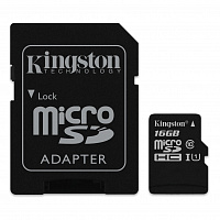 Карта памяти Kingston 16 GB microSDHC Class 10 UHS-I + SD Adapter SDC10G2/16GB